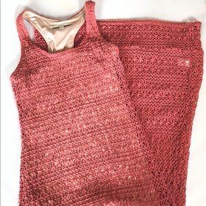 LC Lauren Conrad Crochet Pink Maxi Dress